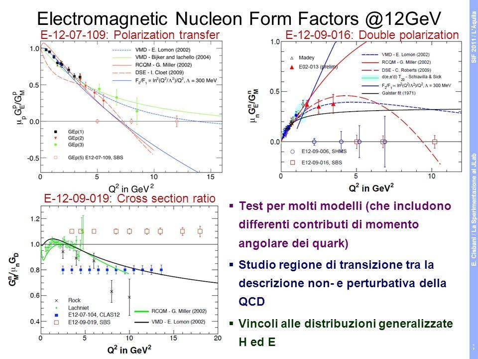 Test per molti modelli (che includono differenti contributi di momento angolare dei quark) Studio regione di transizione tra la descrizione non- e perturbativa della QCD Vincoli alle distribuzioni generalizzate H ed E Electromagnetic Nucleon Form Factors @12GeV E-12-07-109: Polarization transferE-12-09-016: Double polarization E-12-09-019: Cross section ratio SIF 2011 / L Aquila E.