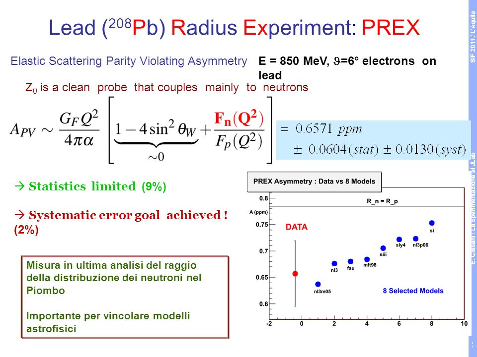 Lead ( 208 Pb) Radius Experiment: PREX Z 0 is a clean probe that couples mainly to neutrons E = 850 MeV, =6° electrons on lead Elastic Scattering Parity Violating Asymmetry Misura in ultima analisi del raggio della distribuzione dei neutroni nel Piombo Importante per vincolare modelli astrofisici ~ 0.5 ppm Statistics limited (9%) Systematic error goal achieved .