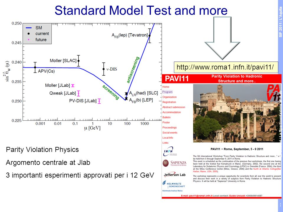 Standard Model Test and more http://www.roma1.infn.it/pavi11/ Parity Violation Physics Argomento centrale at Jlab 3 importanti esperimenti approvati per i 12 GeV SIF 2011 / L Aquila E.
