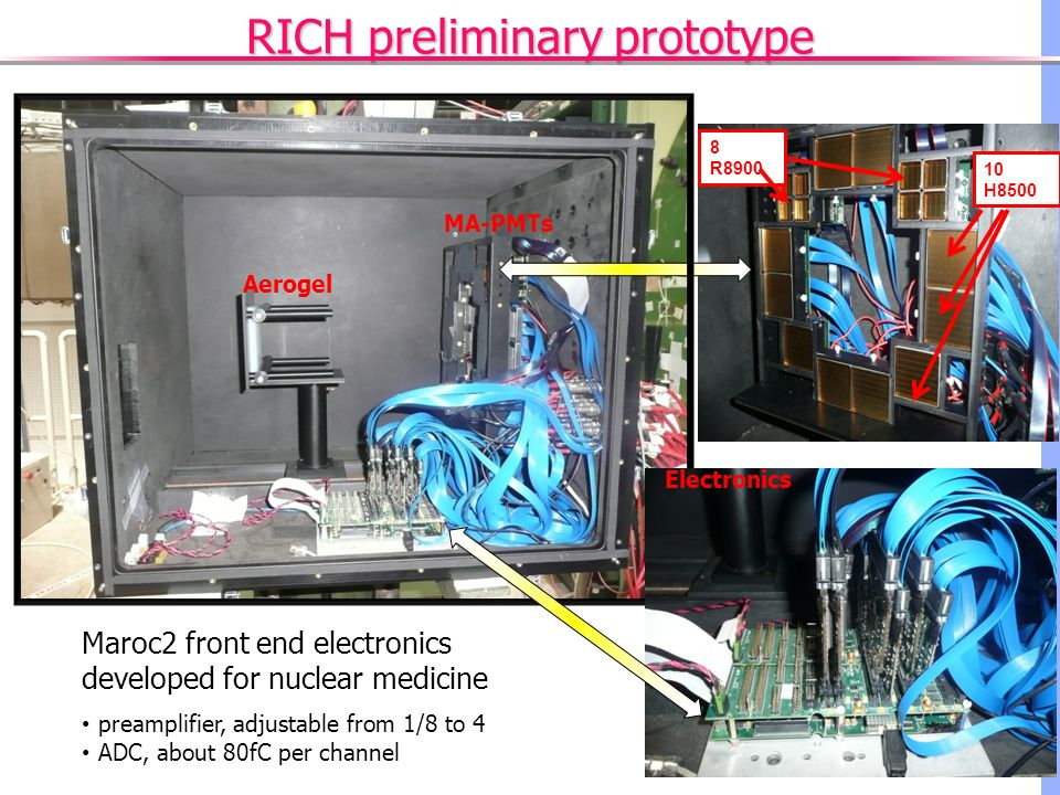 RICH preliminary prototype 10 H8500 8 R8900 Aerogel MA-PMTs Electronics Maroc2 front end electronics developed for nuclear medicine preamplifier, adjustable from 1/8 to 4 ADC, about 80fC per channel
