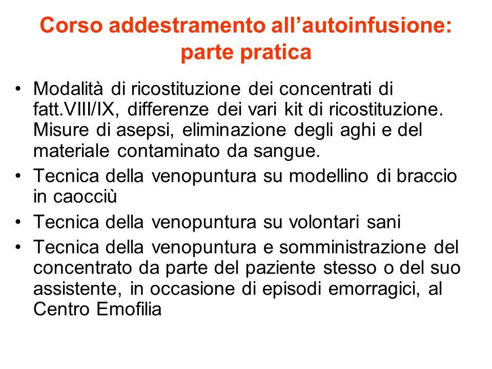 Corso addestramento allautoinfusione: parte pratica Modalità di ricostituzione dei concentrati di fatt.VIII/IX, differenze dei vari kit di ricostituzi