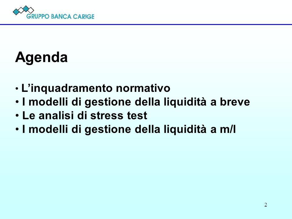 2 Agenda Linquadramento normativo I modelli di gestione della liquidità a breve Le analisi di stress test I modelli di gestione della liquidità a m/l