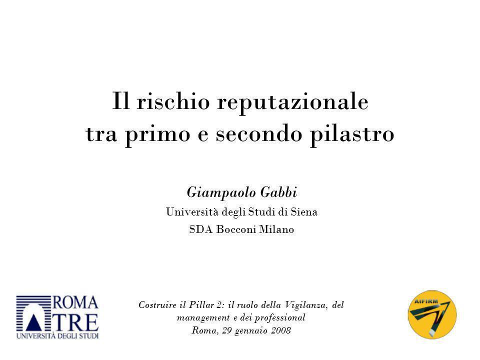 1 Il rischio reputazionale tra primo e secondo pilastro Giampaolo Gabbi Università degli Studi di Siena SDA Bocconi Milano Costruire il Pillar 2: il r