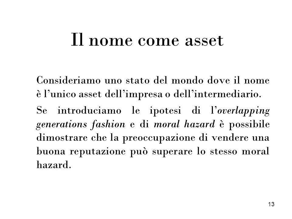 13 Il nome come asset Consideriamo uno stato del mondo dove il nome è lunico asset dellimpresa o dellintermediario. Se introduciamo le ipotesi di love