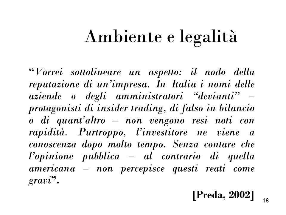 18 Ambiente e legalità Vorrei sottolineare un aspetto: il nodo della reputazione di unimpresa. In Italia i nomi delle aziende o degli amministratori d