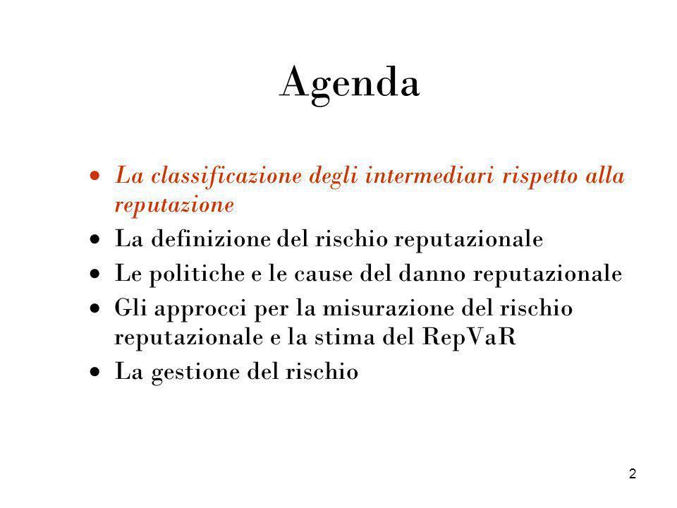 2 Agenda La classificazione degli intermediari rispetto alla reputazione La definizione del rischio reputazionale Le politiche e le cause del danno re