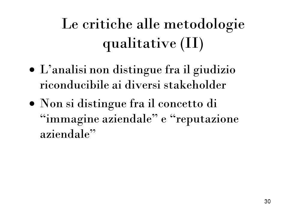 30 Le critiche alle metodologie qualitative (II) Lanalisi non distingue fra il giudizio riconducibile ai diversi stakeholder Non si distingue fra il c