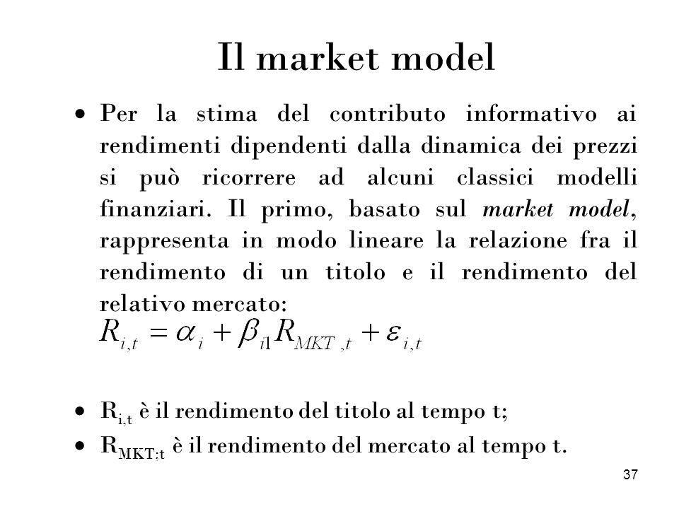 37 Il market model Per la stima del contributo informativo ai rendimenti dipendenti dalla dinamica dei prezzi si può ricorrere ad alcuni classici mode