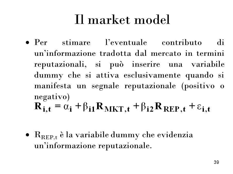 39 Il market model Per stimare leventuale contributo di uninformazione tradotta dal mercato in termini reputazionali, si può inserire una variabile du