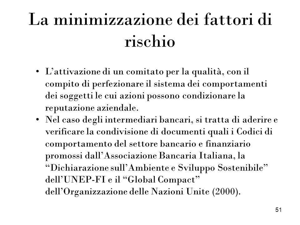 51 La minimizzazione dei fattori di rischio Lattivazione di un comitato per la qualità, con il compito di perfezionare il sistema dei comportamenti de