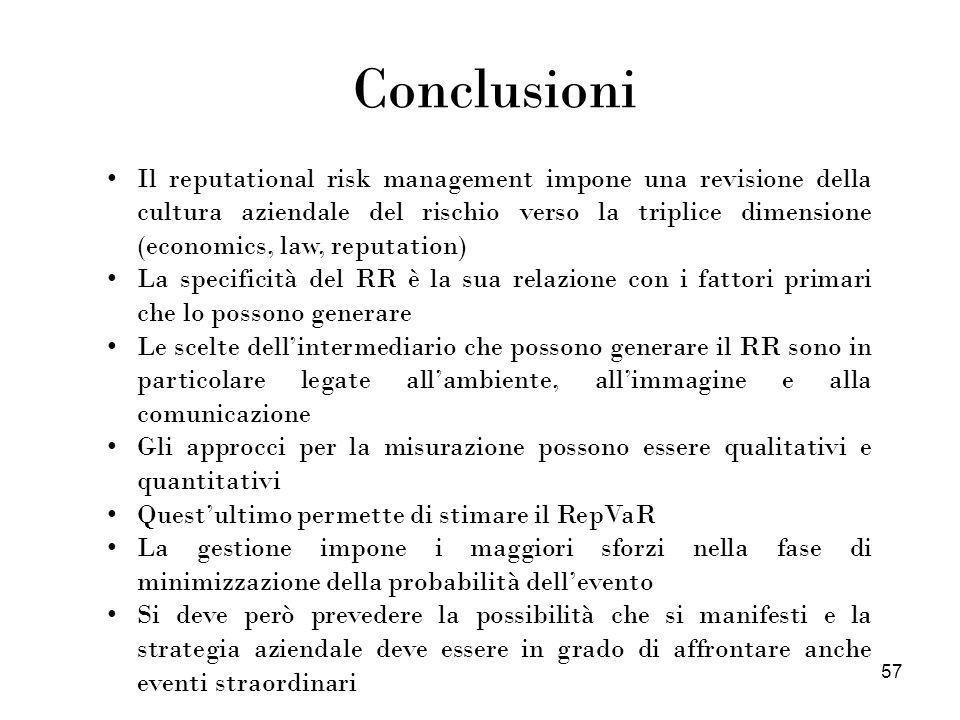 57 Conclusioni Il reputational risk management impone una revisione della cultura aziendale del rischio verso la triplice dimensione (economics, law,