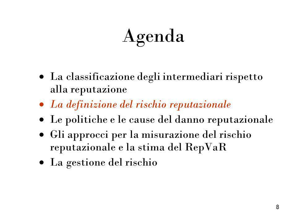 8 Agenda La classificazione degli intermediari rispetto alla reputazione La definizione del rischio reputazionale Le politiche e le cause del danno re