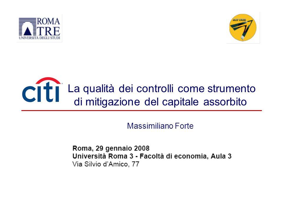 La qualità dei controlli come strumento di mitigazione del capitale assorbito Massimiliano Forte