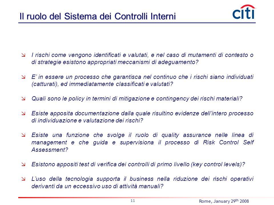 Rome, January 29 th 2008 11 I rischi come vengono identificati e valutati, e nel caso di mutamenti di contesto o di strategie esistono appropriati mec