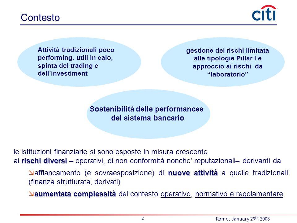 Rome, January 29 th 2008 2 Contesto le istituzioni finanziarie si sono esposte in misura crescente rischi diversi ai rischi diversi – operativi, di no