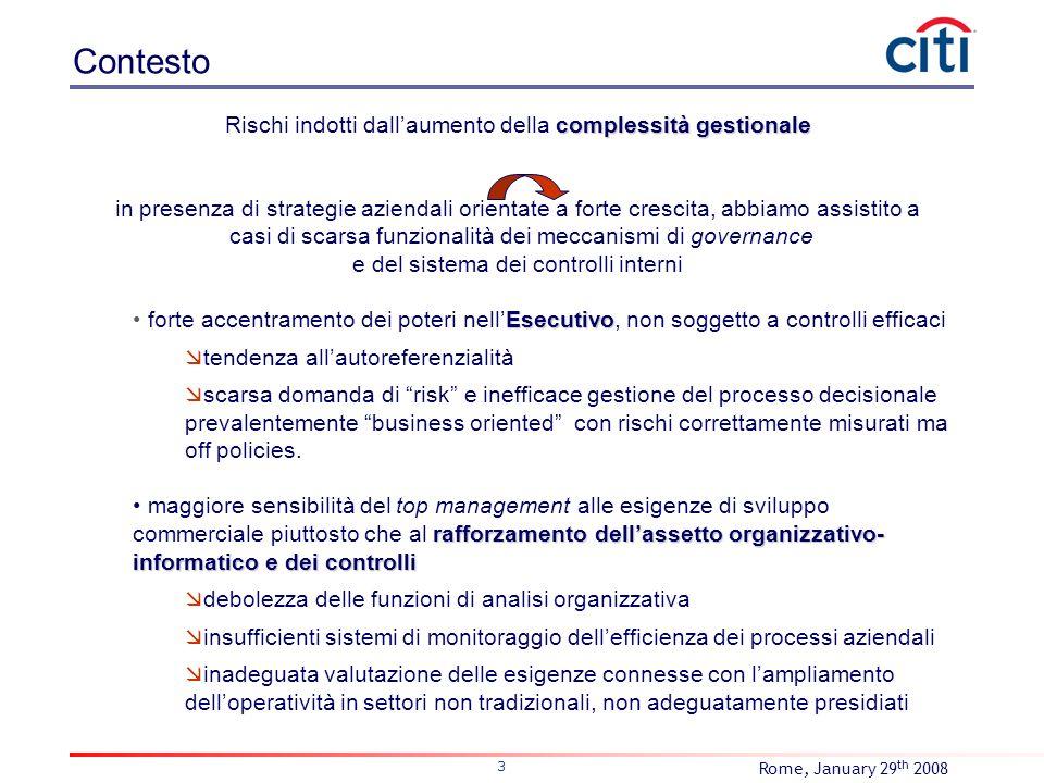 Rome, January 29 th 2008 4 Basilea II e NAC Nellambito del II Pilastro, rischi e controlli devono uscire dalla fase di laboratorio per diventare embedded in un sistema di governance integrato.