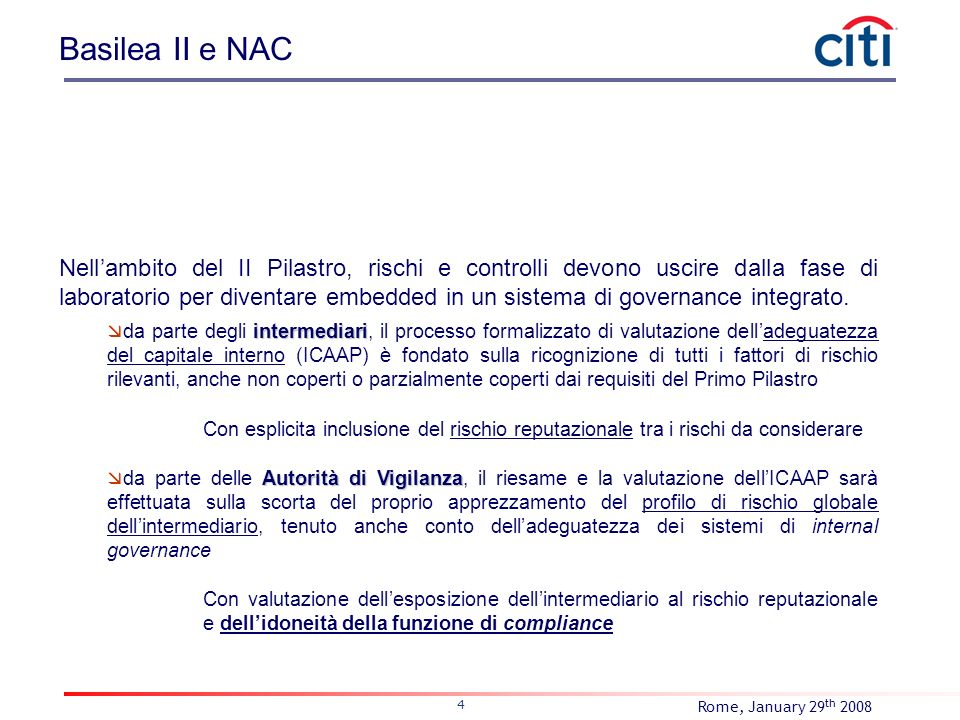 Rome, January 29 th 2008 4 Basilea II e NAC Nellambito del II Pilastro, rischi e controlli devono uscire dalla fase di laboratorio per diventare embed