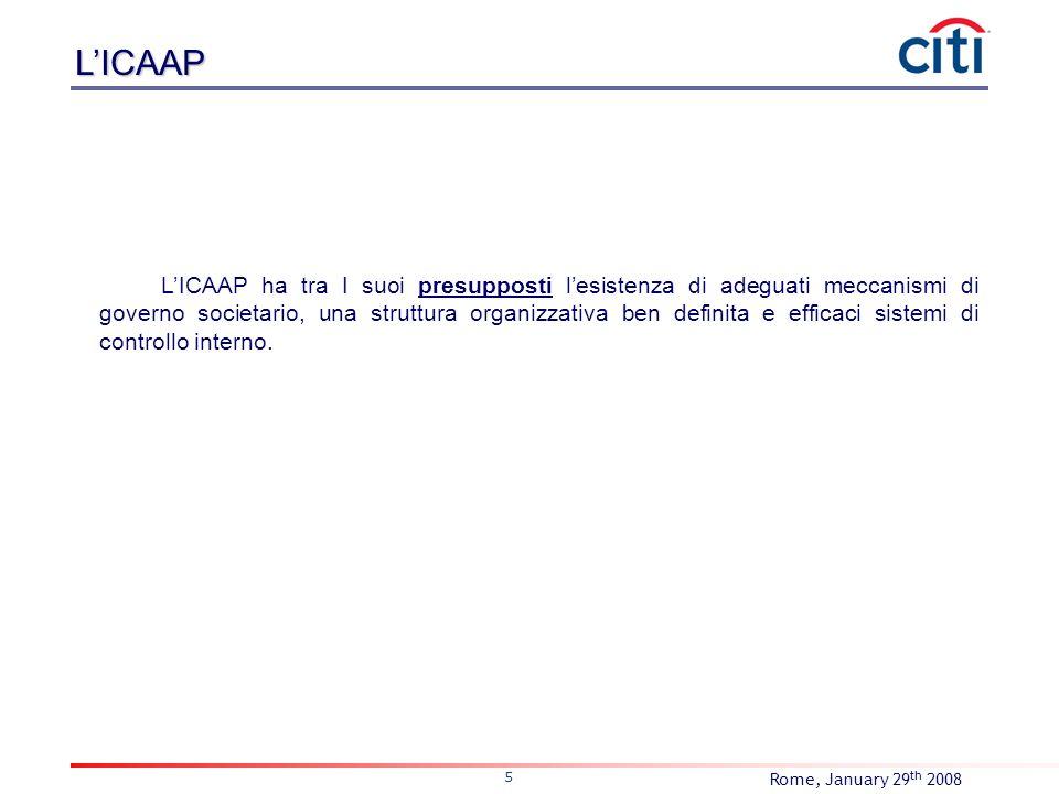 Rome, January 29 th 2008 5 LICAAP ha tra I suoi presupposti lesistenza di adeguati meccanismi di governo societario, una struttura organizzativa ben d