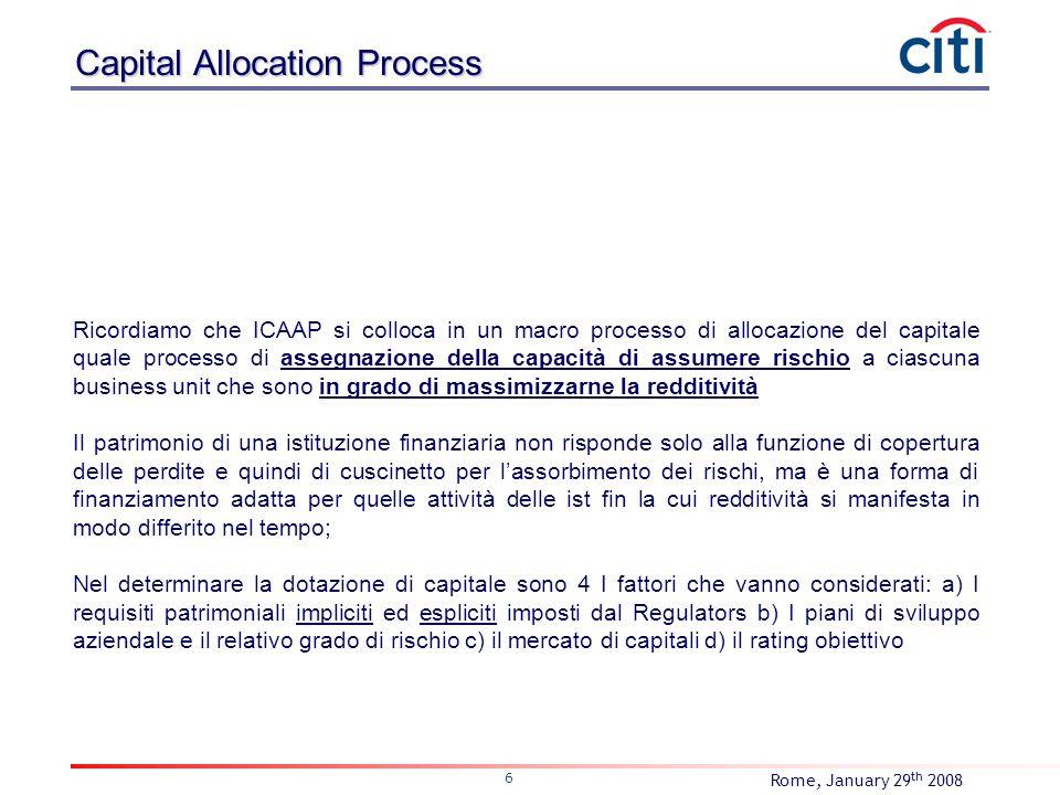Rome, January 29 th 2008 6 Ricordiamo che ICAAP si colloca in un macro processo di allocazione del capitale quale processo di assegnazione della capac