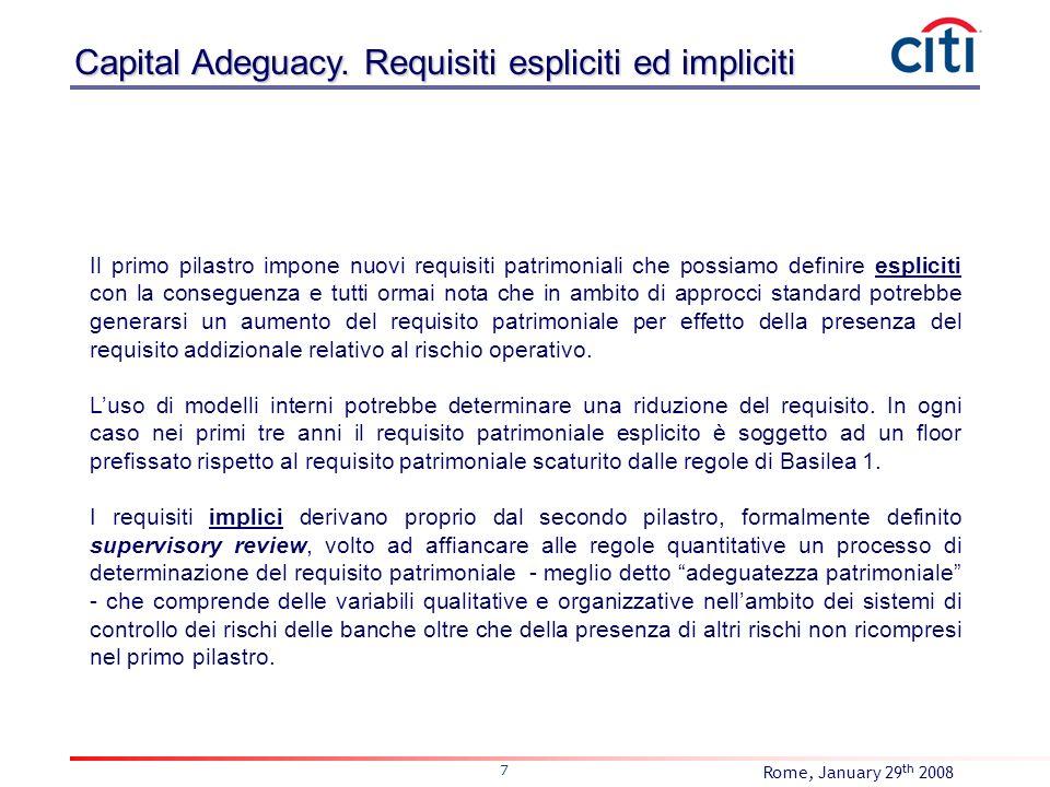 Rome, January 29 th 2008 7 Il primo pilastro impone nuovi requisiti patrimoniali che possiamo definire espliciti con la conseguenza e tutti ormai nota