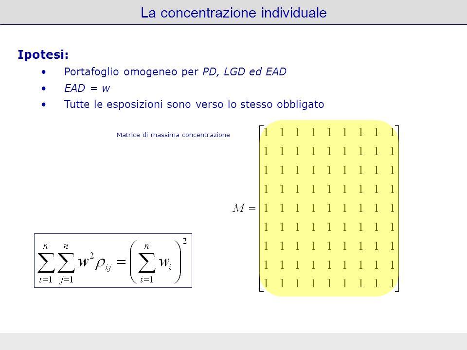 La concentrazione individuale Ipotesi: Portafoglio omogeneo per PD, LGD ed EAD EAD = w Tutte le esposizioni sono verso lo stesso obbligato Matrice di