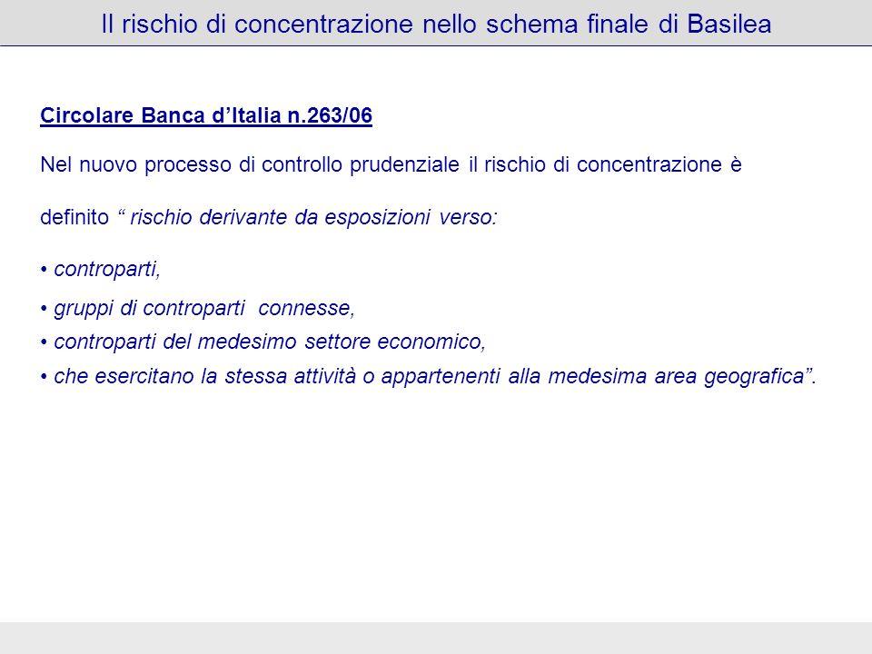 Circolare Banca dItalia n.263/06 Nel nuovo processo di controllo prudenziale il rischio di concentrazione è definito rischio derivante da esposizioni