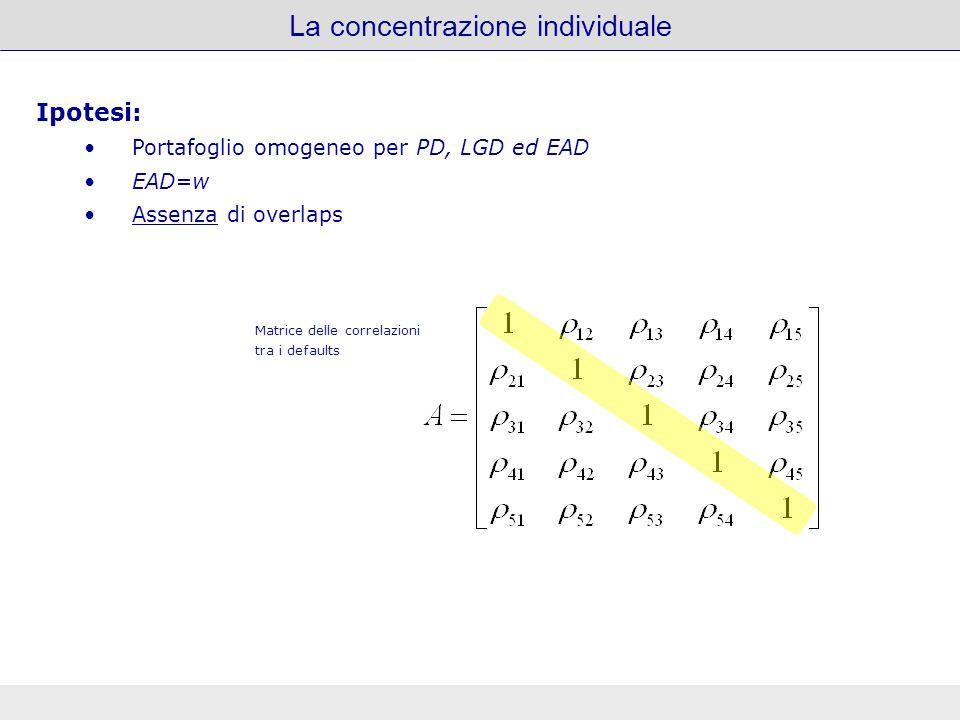La concentrazione individuale Ipotesi: Portafoglio omogeneo per PD, LGD ed EAD EAD = w Leterogeneità delle EAD è introdotta ipotizzando la presenza di overlaps Matrice delle correlazioni tra i defaults