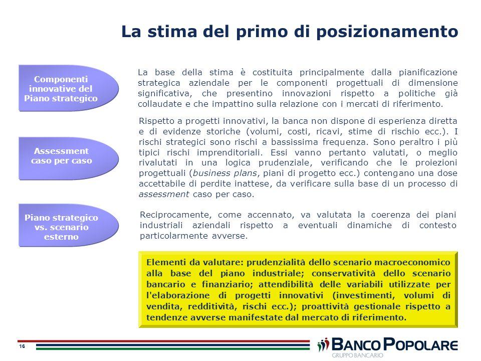 16 La stima del primo di posizionamento La base della stima è costituita principalmente dalla pianificazione strategica aziendale per le componenti pr
