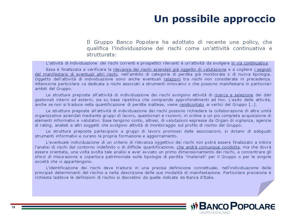 19 Un possibile approccio L'attività di individuazione dei rischi correnti e prospettici rilevanti è un'attività da svolgere in via continuativa. Essa