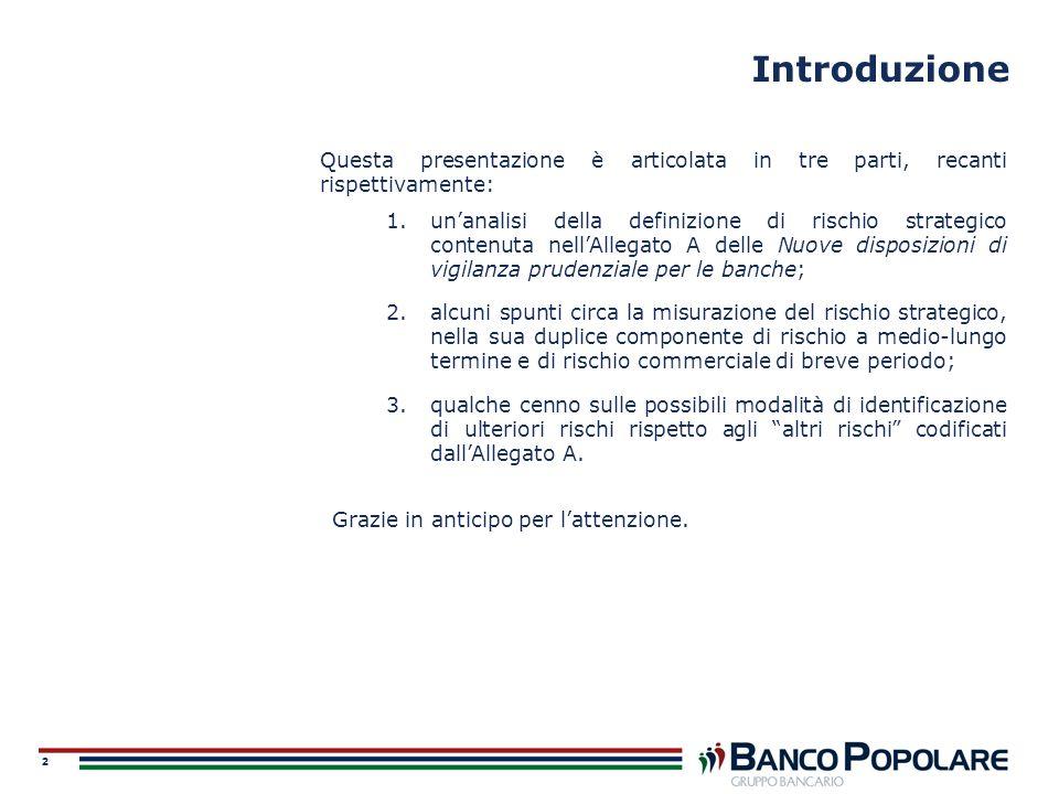 2 Introduzione Questa presentazione è articolata in tre parti, recanti rispettivamente: 1.unanalisi della definizione di rischio strategico contenuta