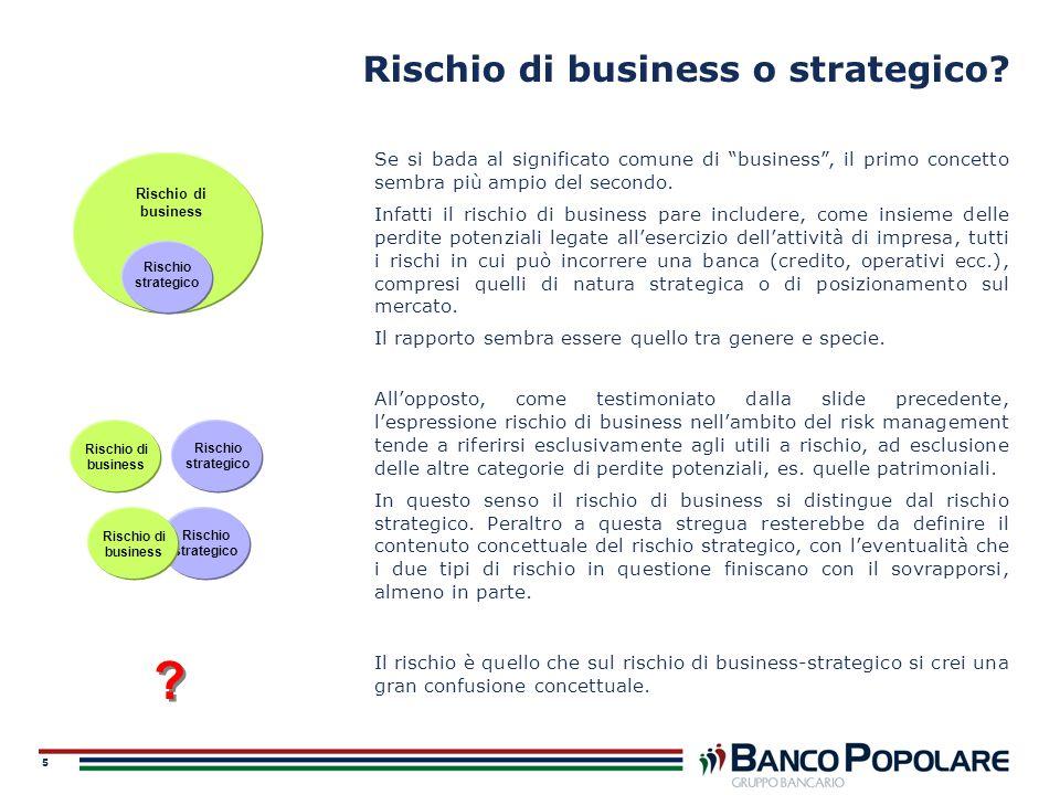 5 Rischio di business o strategico? Se si bada al significato comune di business, il primo concetto sembra più ampio del secondo. Infatti il rischio d
