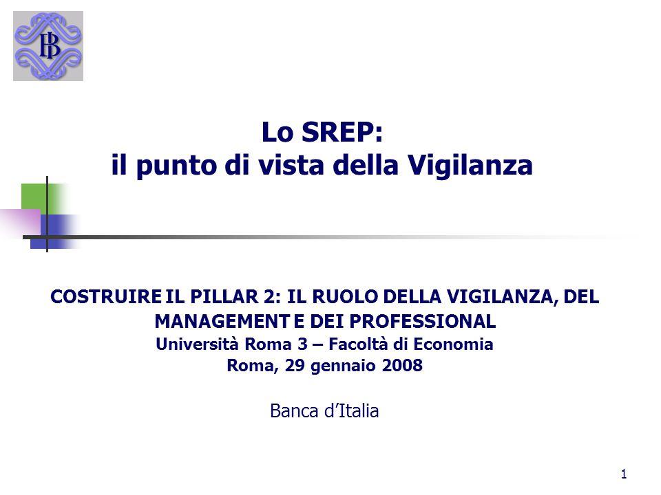 1 Lo SREP: il punto di vista della Vigilanza COSTRUIRE IL PILLAR 2: IL RUOLO DELLA VIGILANZA, DEL MANAGEMENT E DEI PROFESSIONAL Università Roma 3 – Fa