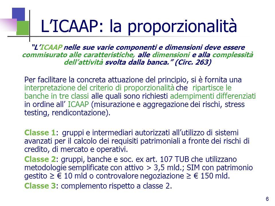 6 LICAAP: la proporzionalità LICAAP nelle sue varie componenti e dimensioni deve essere commisurato alle caratteristiche, alle dimensioni e alla compl