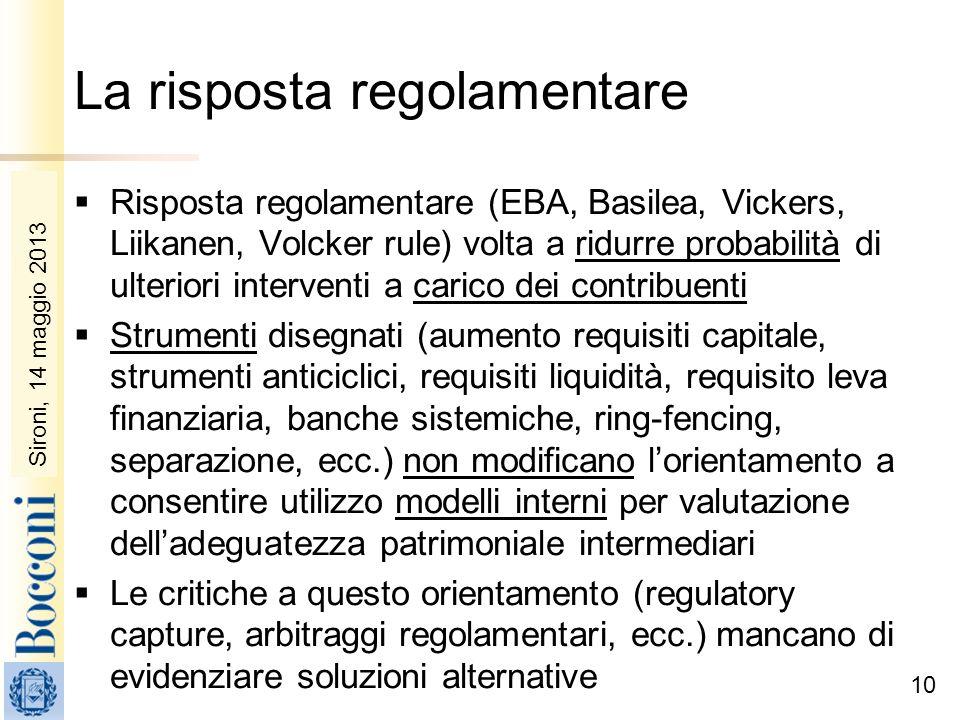 Sironi, 22 febbraio 2010 La risposta regolamentare Risposta regolamentare (EBA, Basilea, Vickers, Liikanen, Volcker rule) volta a ridurre probabilità