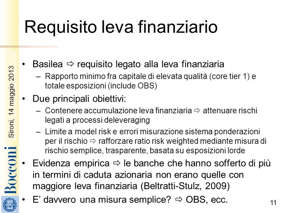 Sironi, 22 febbraio 2010 11 Requisito leva finanziario Basilea requisito legato alla leva finanziaria –Rapporto minimo fra capitale di elevata qualità
