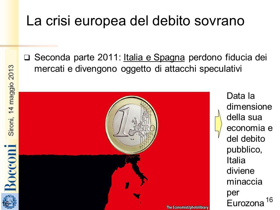 Sironi, 22 febbraio 2010 16 Data la dimensione della sua economia e del debito pubblico, Italia diviene minaccia per Eurozona Seconda parte 2011: Ital