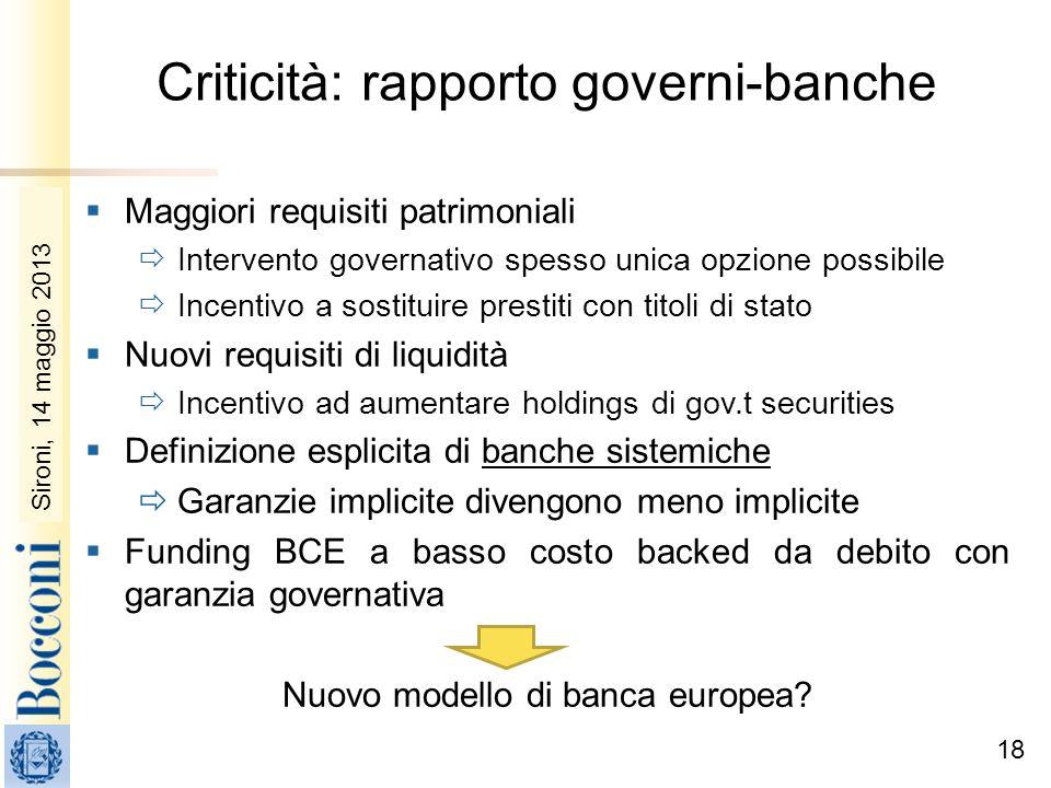 Sironi, 22 febbraio 2010 Criticità: rapporto governi-banche Maggiori requisiti patrimoniali Intervento governativo spesso unica opzione possibile Ince
