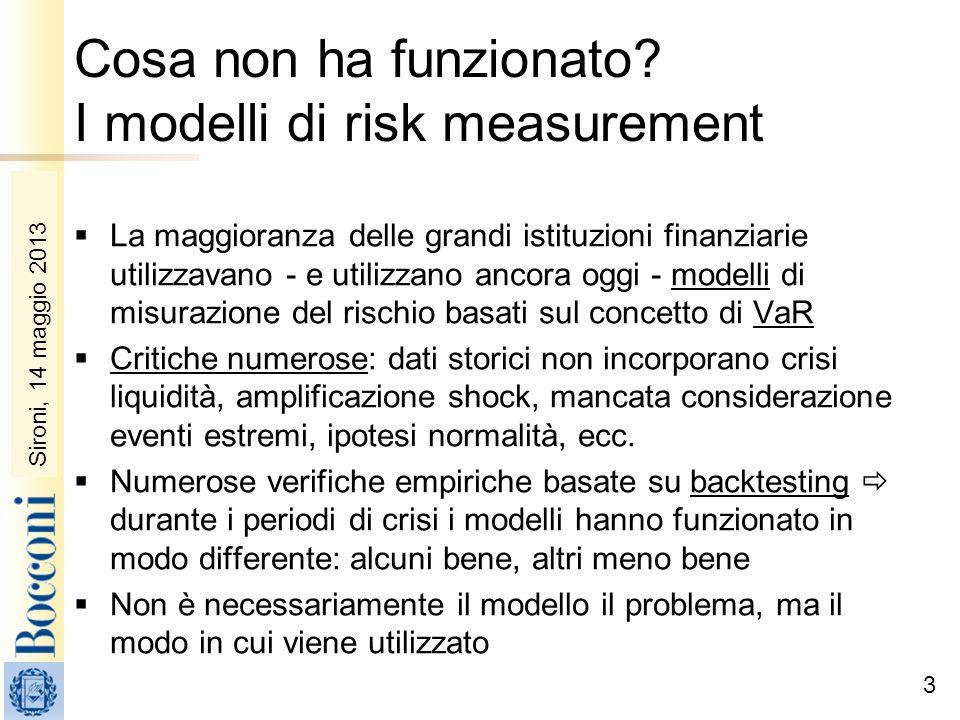 Sironi, 22 febbraio 2010 Cosa non ha funzionato? I modelli di risk measurement La maggioranza delle grandi istituzioni finanziarie utilizzavano - e ut