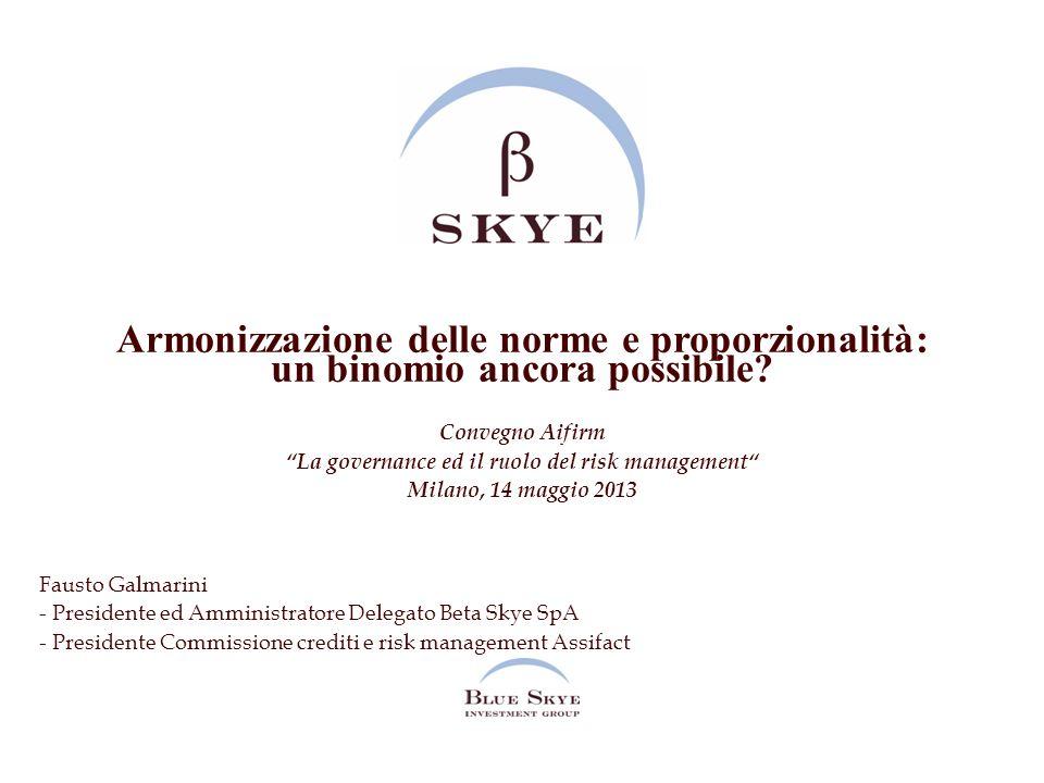 Armonizzazione delle norme e proporzionalità: un binomio ancora possibile? Convegno AifirmLa governance ed il ruolo del risk management Milano, 14 mag