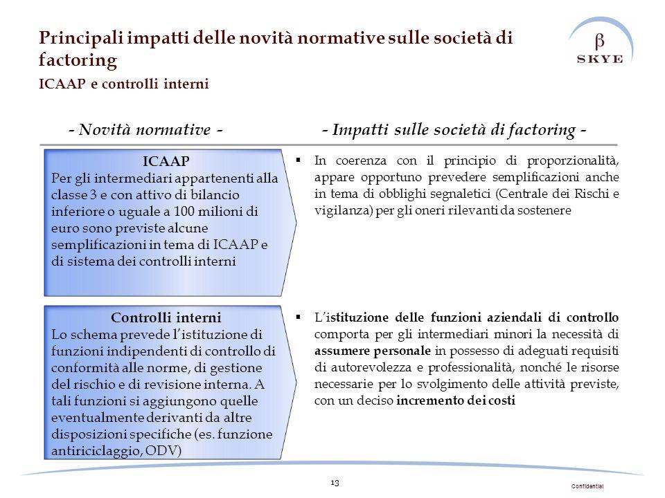 Confidential 13 - Novità normative - In coerenza con il principio di proporzionalità, appare opportuno prevedere semplificazioni anche in tema di obbl