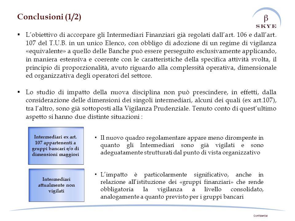 Confidential Conclusioni (1/2) Lobiettivo di accorpare gli Intermediari Finanziari già regolati dallart. 106 e dallart. 107 del T.U.B. in un unico Ele