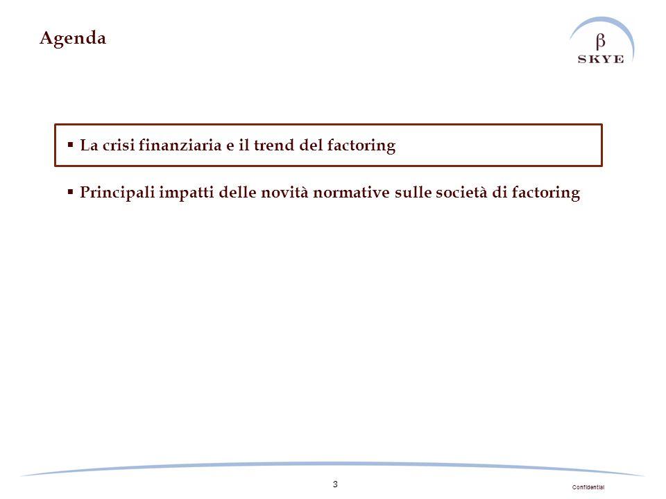 Confidential 3 Agenda La crisi finanziaria e il trend del factoring Principali impatti delle novità normative sulle società di factoring