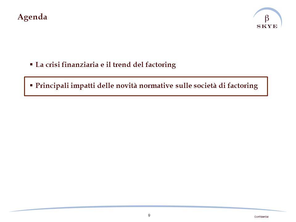 Confidential 9 Agenda La crisi finanziaria e il trend del factoring Principali impatti delle novità normative sulle società di factoring