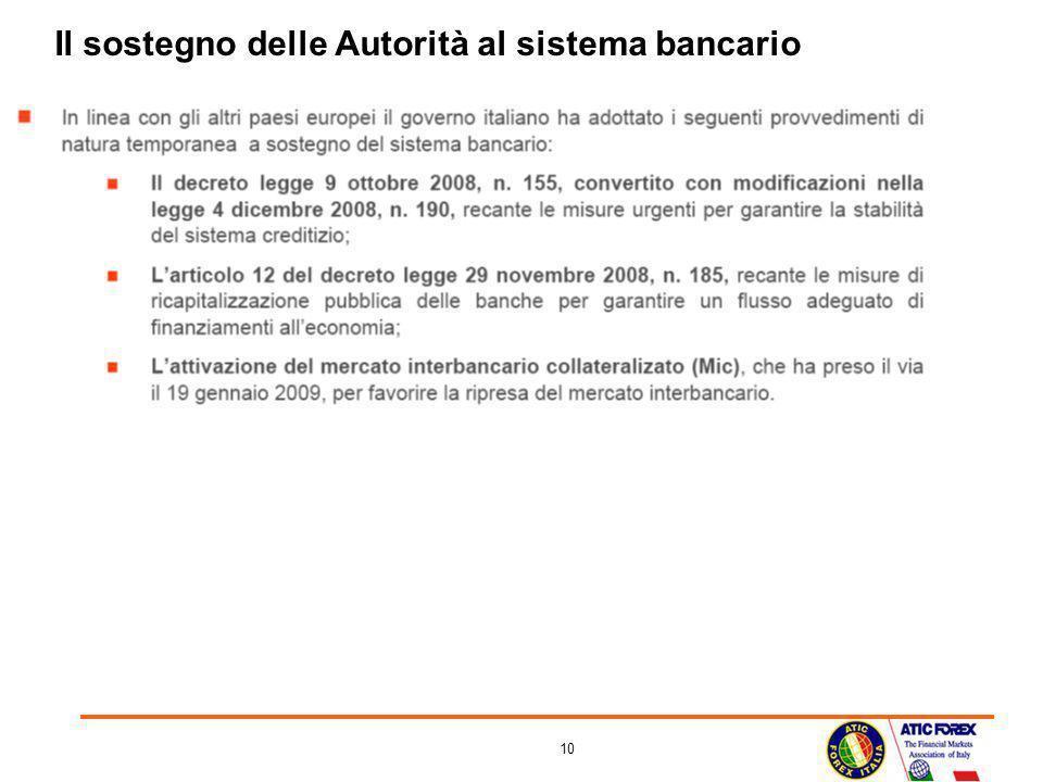 10 Il sostegno delle Autorità al sistema bancario