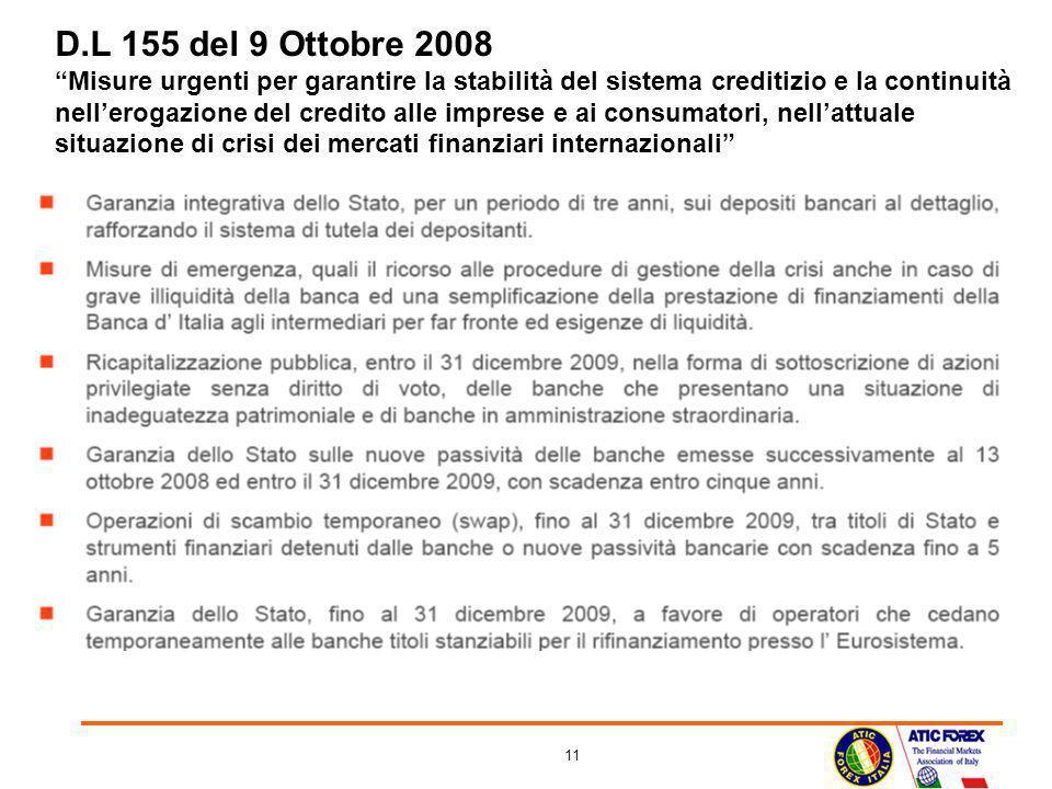 11 D.L 155 del 9 Ottobre 2008 Misure urgenti per garantire la stabilità del sistema creditizio e la continuità nellerogazione del credito alle imprese