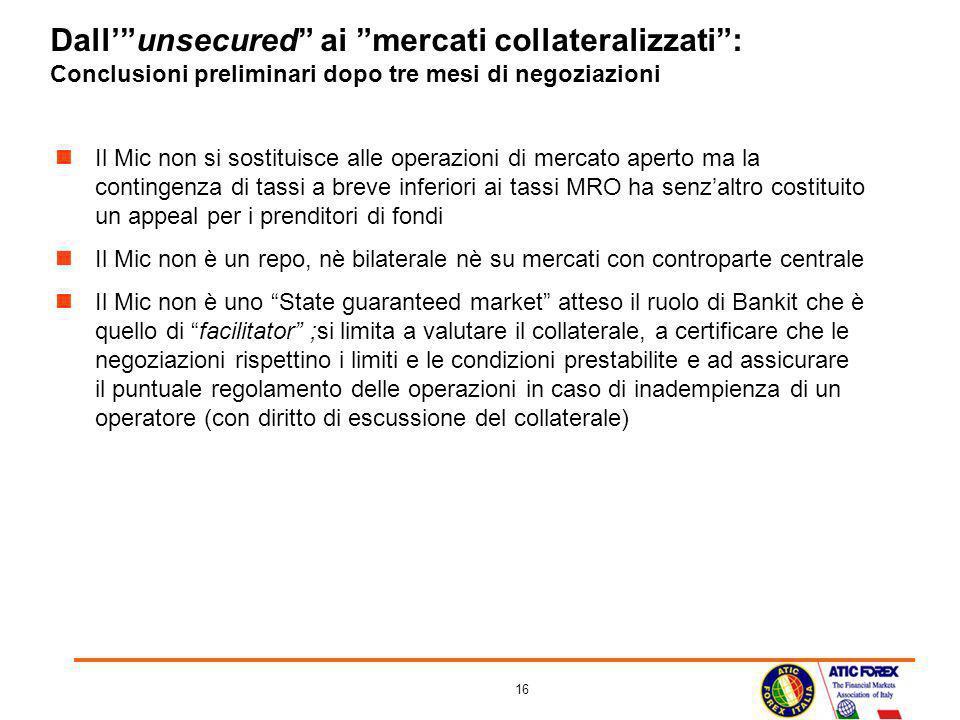16 Dallunsecured ai mercati collateralizzati: Conclusioni preliminari dopo tre mesi di negoziazioni Il Mic non si sostituisce alle operazioni di merca