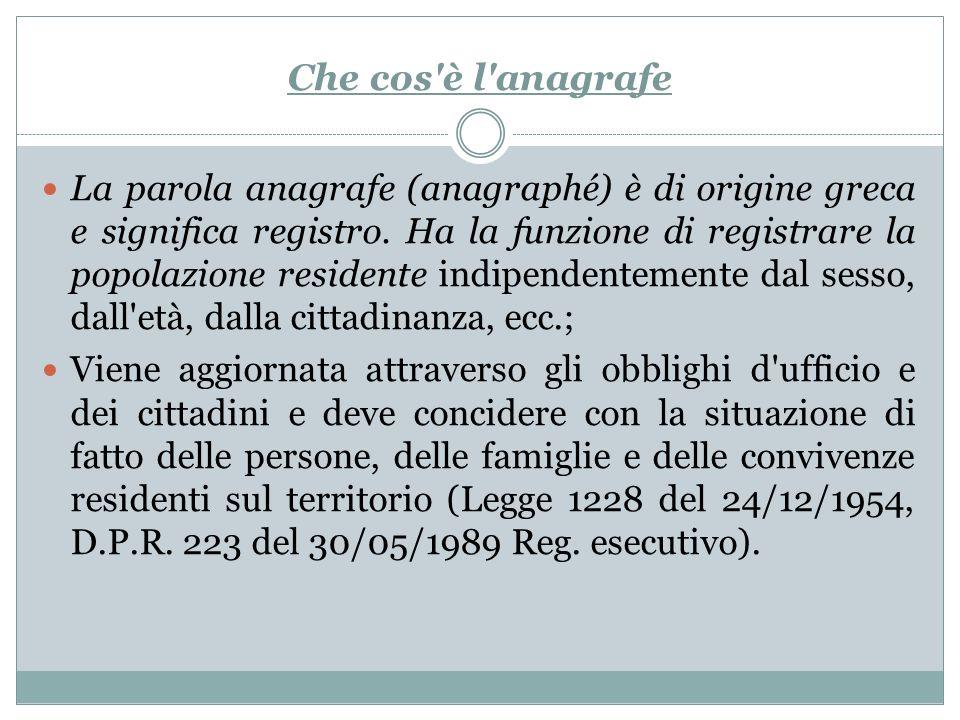 Che cos'è l'anagrafe La parola anagrafe (anagraphé) è di origine greca e significa registro. Ha la funzione di registrare la popolazione residente ind