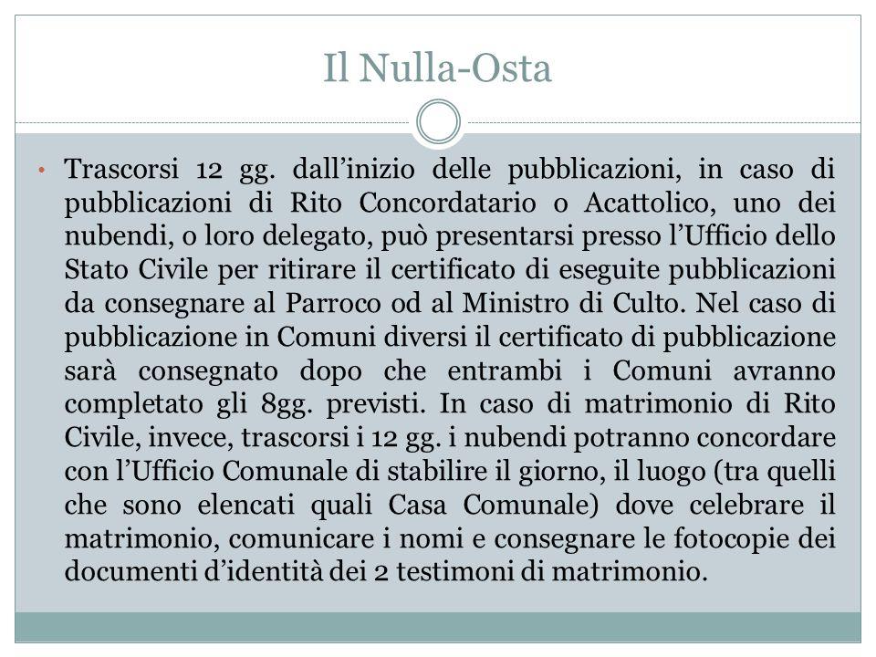 Il Nulla-Osta Trascorsi 12 gg. dallinizio delle pubblicazioni, in caso di pubblicazioni di Rito Concordatario o Acattolico, uno dei nubendi, o loro de