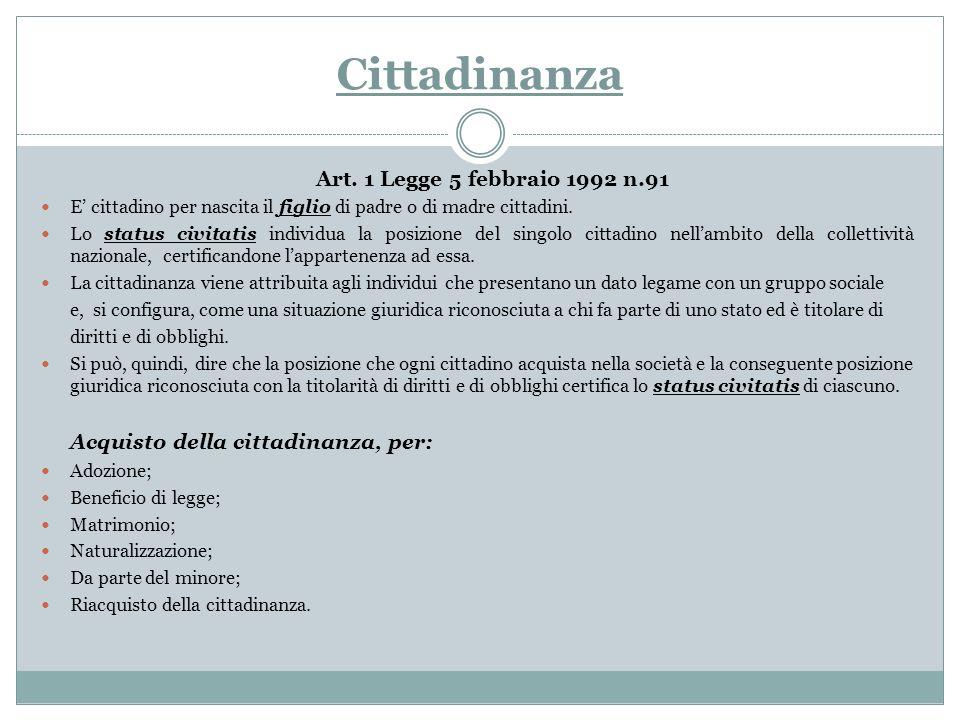 Cittadinanza Art. 1 Legge 5 febbraio 1992 n.91 E cittadino per nascita il figlio di padre o di madre cittadini. Lo status civitatis individua la posiz