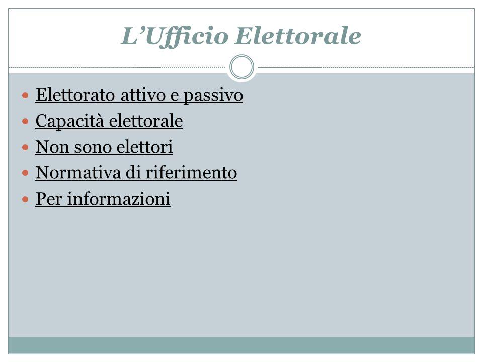 LUfficio Elettorale Elettorato attivo e passivo Capacità elettorale Non sono elettori Normativa di riferimento Per informazioni